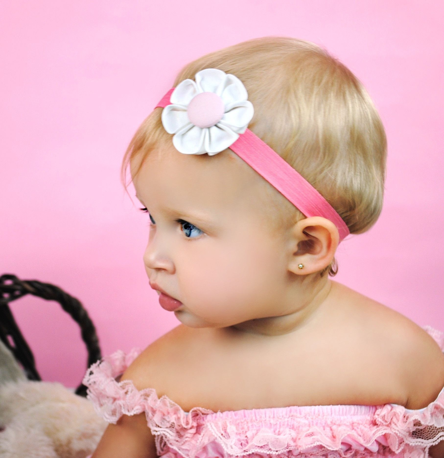White & Pink Kanzashi Fabric Flower-Available in 4 Styles