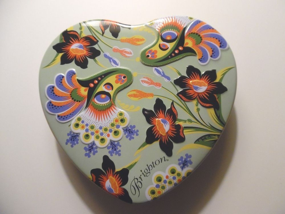 BRIGHTON Heart Shaped Metal Tin with Insert ~ Jewelry or Storage Box (etc) - & BRIGHTON Heart Shaped Metal Tin with Insert ~ Jewelry or Storage Box ...