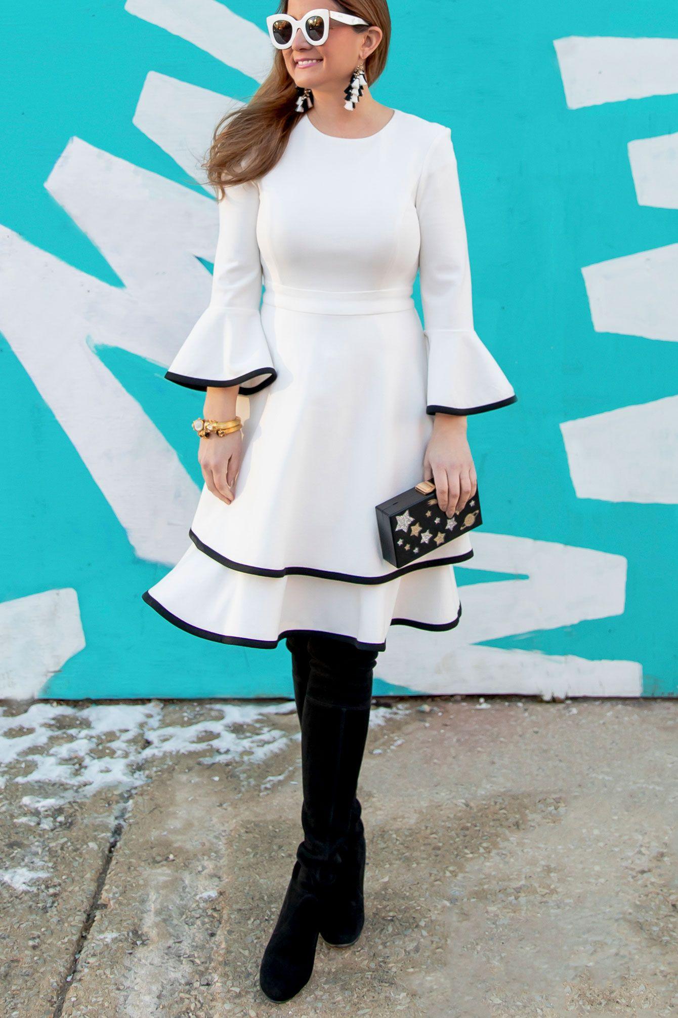 6c17b2470741 Eliza J White Bell Sleeve Dress   Style Charade Dressy Outfits ...