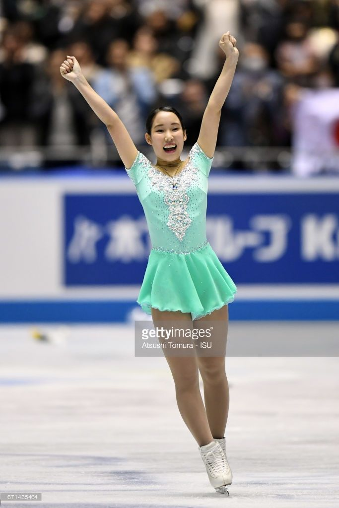 News Photo : Mai Mihara of Japan reacts after the Ladies free...