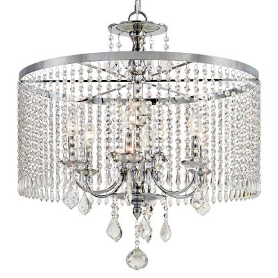 Home Decorators Collection 6 Light Polished Chrome Chandelier With K9 Crystal Dangles Chrome Chandeliers Polished Chrome Chandelier Lighting Fixtures