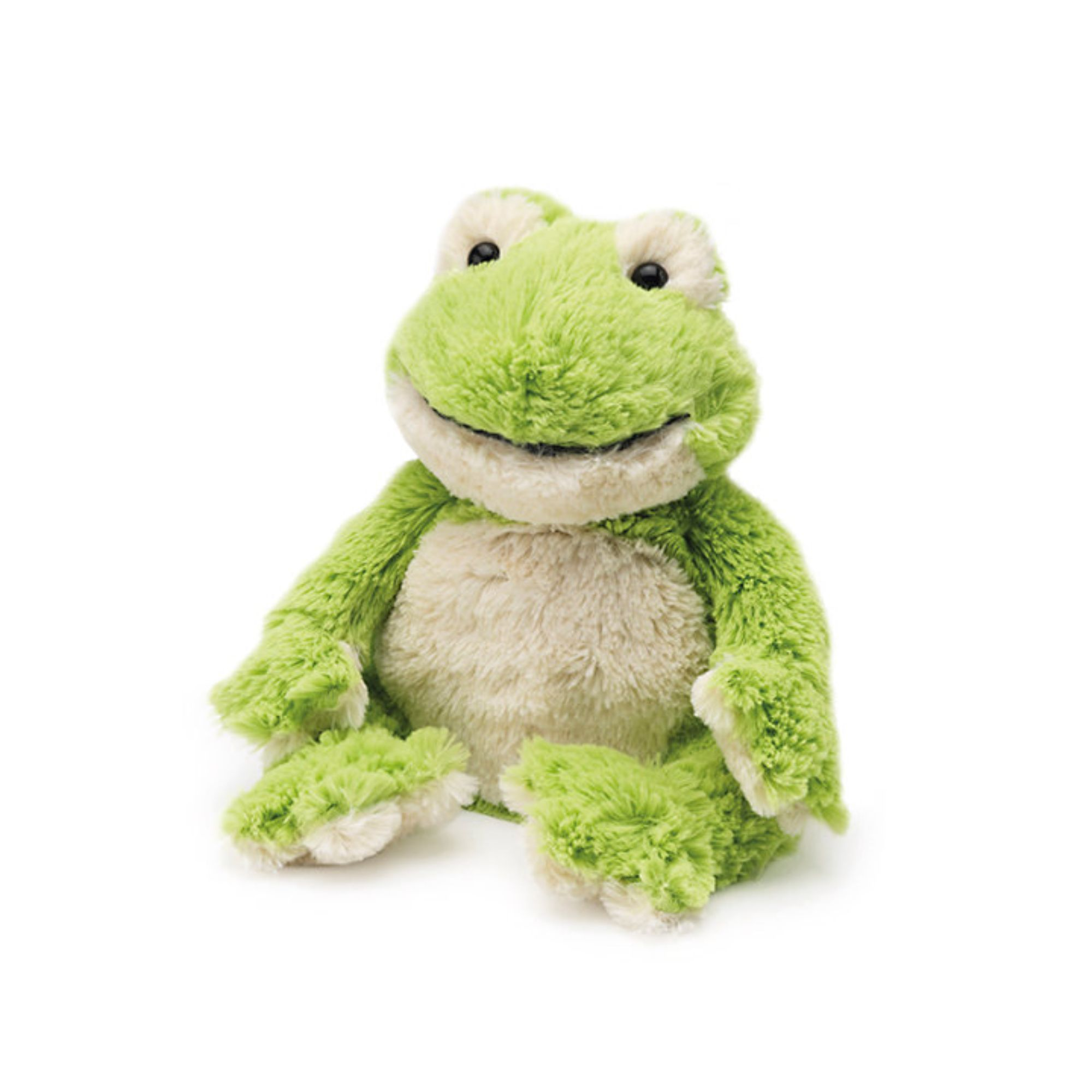 """13"""" Green and White Microwavable Plush Frog Stuffed Animal"""