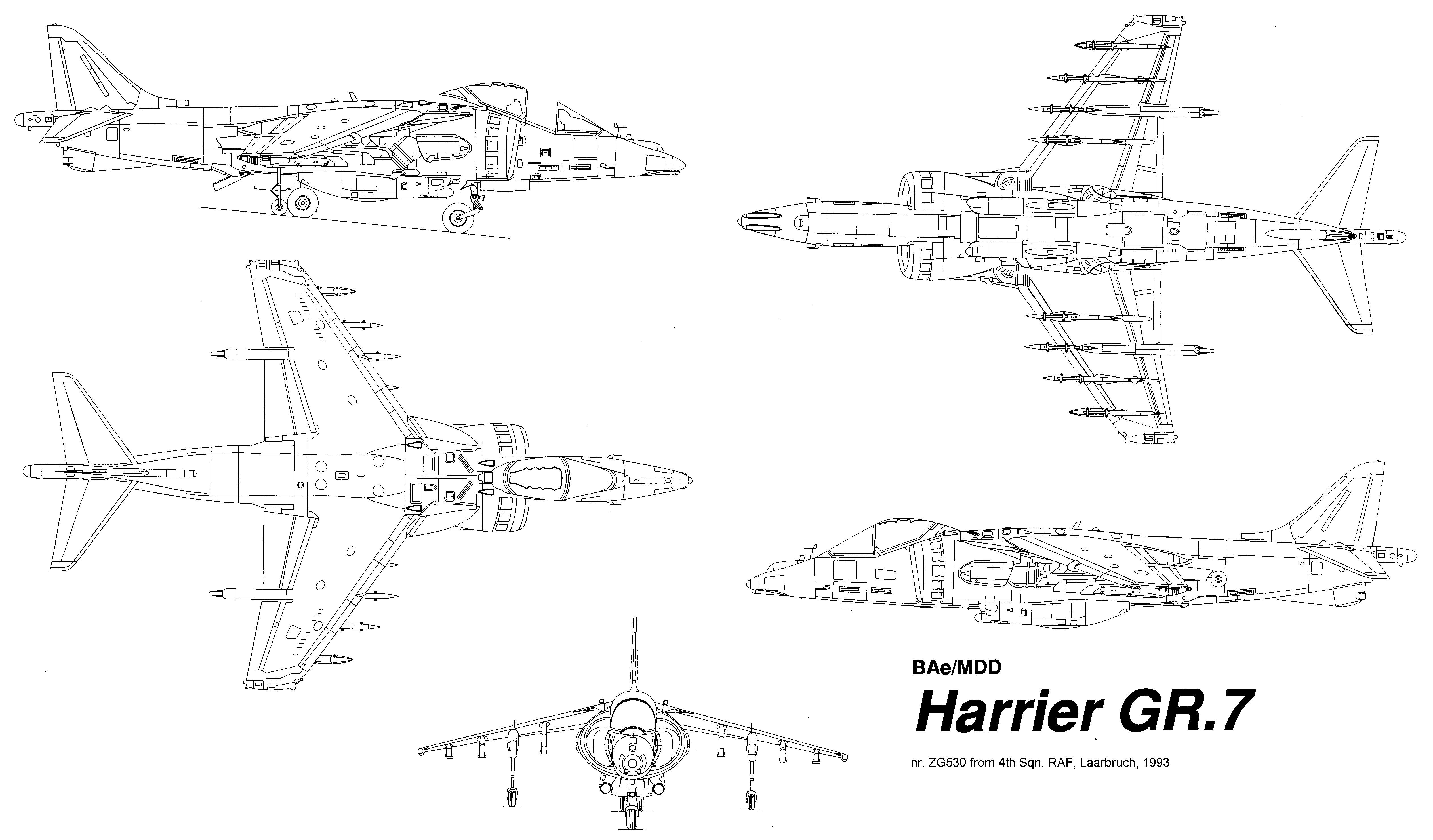 hight resolution of harrier gr 7 blueprint