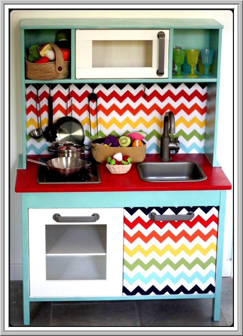 ikea duktig play kitchen make over i love these colors. Black Bedroom Furniture Sets. Home Design Ideas