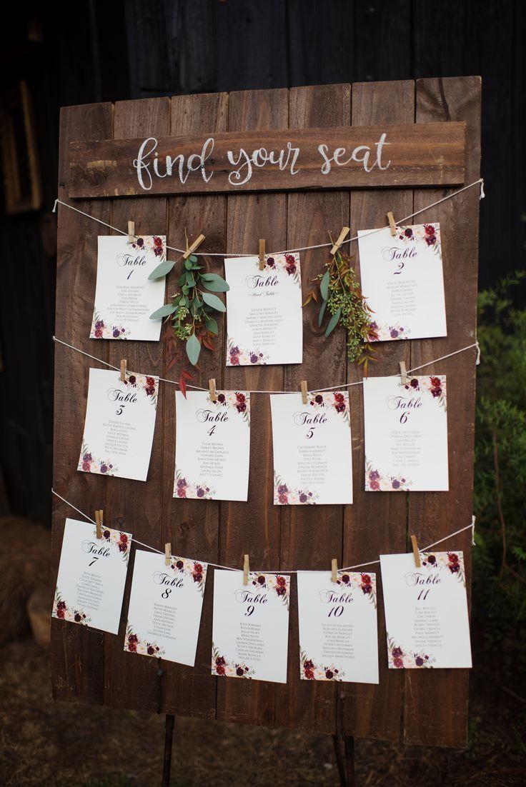 Dieser Sitzplan ist einfach und süß! #cedarwoodweddings 21.10.17 :: Mallory S … – Holz DIY Ideen