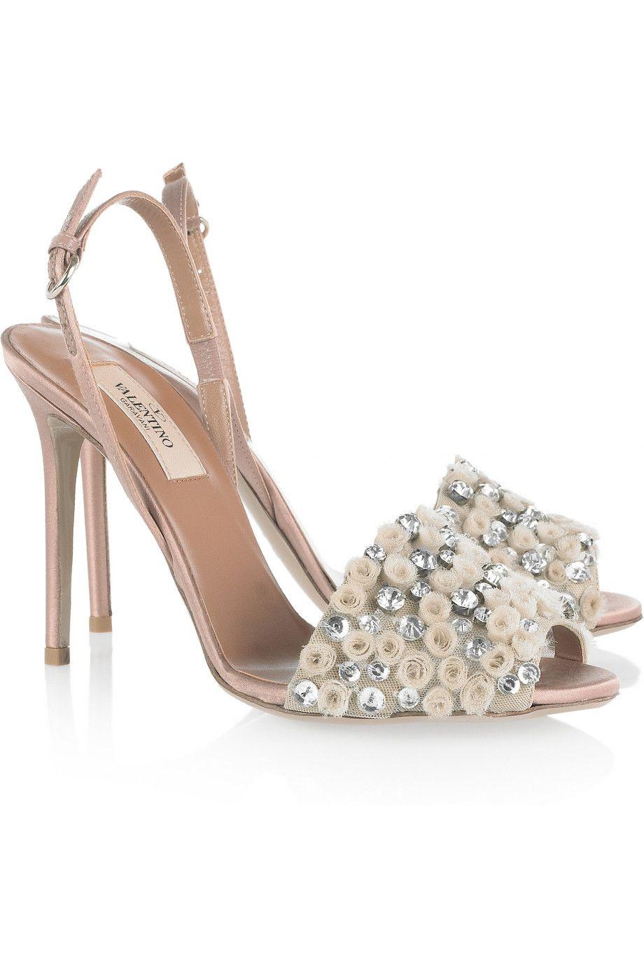 Valentino Crystal Embelleshed Satin Sandals Shoe Fancy Pinterest