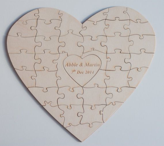 Abbey Jigsaw Bunching Table: Personalised Heart Shapes Wedding Guestbook Jigsaw Puzzle