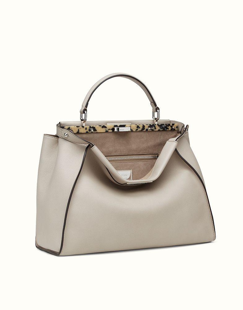 57c1c3877a6e FENDI LARGE PEEKABOO - powder gray leather handbag - view 2 detail ...