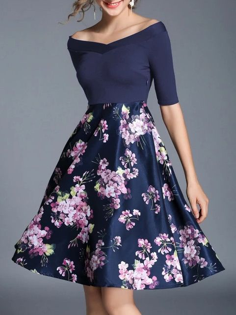 2381d1ec46ef Boat Neck Flowers Print Combo Dress -SheIn(Sheinside) | Shein ...