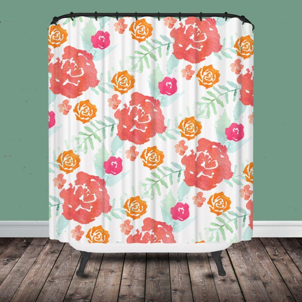 Lovely Orange Flower Shower Curtain