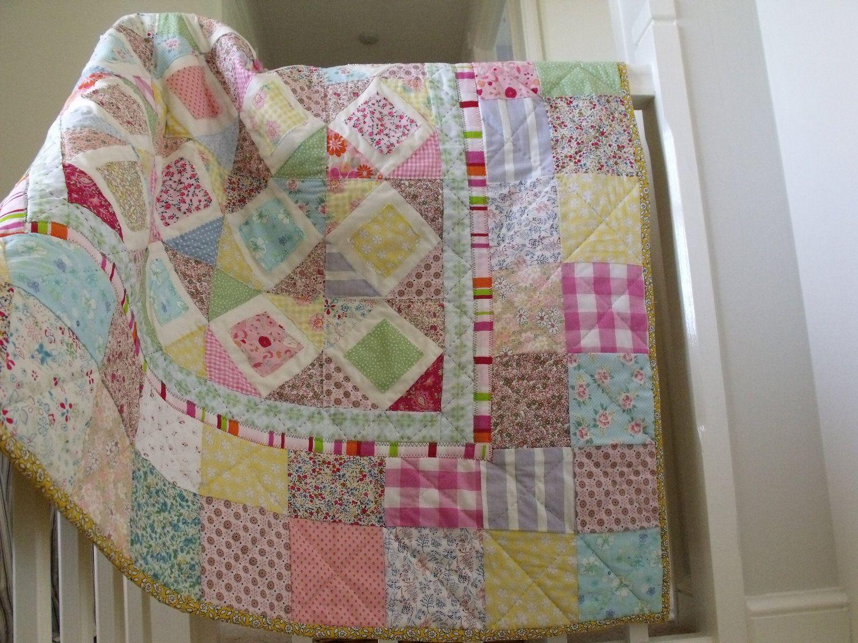 modern handmade patchwork quilt baby quilt girls patchwork quilt ... : handmade baby quilts patterns - Adamdwight.com