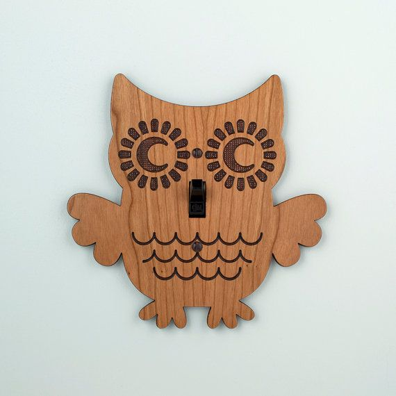 Wood Owl Switchplate Kids Nursery Wall Light by graphicspaceswood, $28.00