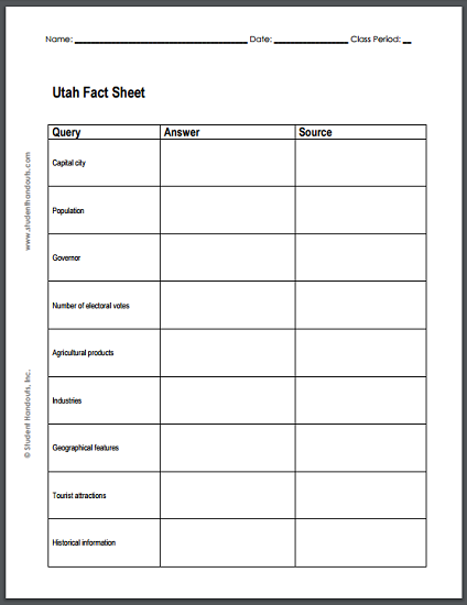 Utah Fact Sheet Notebooking Page  Free To Print Pdf File