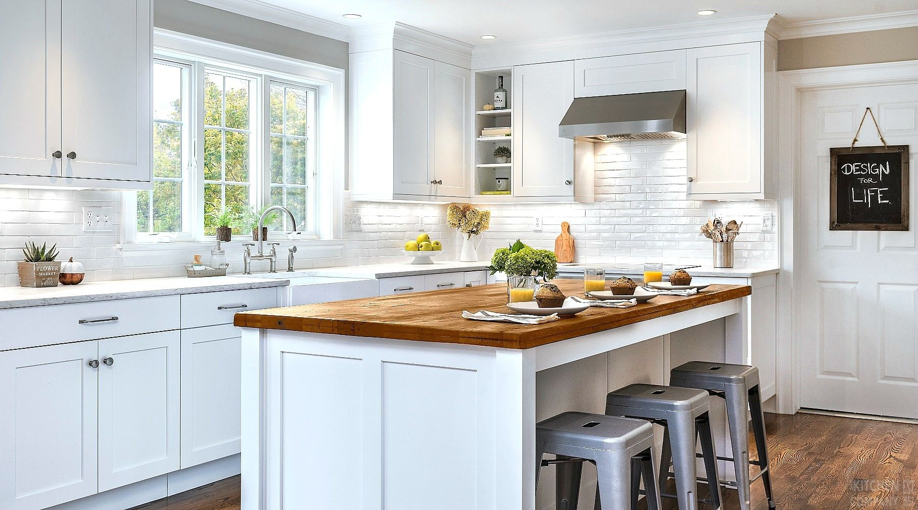 The kitchen has been completely renovated with fresh white cabinets - Fresh Farmhouse Kitchen Renovation Cabinetry Woodmode Brookhaven With Bright White Finish Island Top