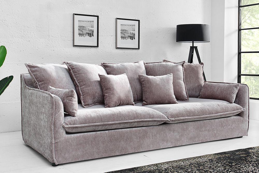Hussensofa 3 Sitzer 210cm Taupe Samt Riess Ambiente De Sofa 3er Sofa Samt Sofa