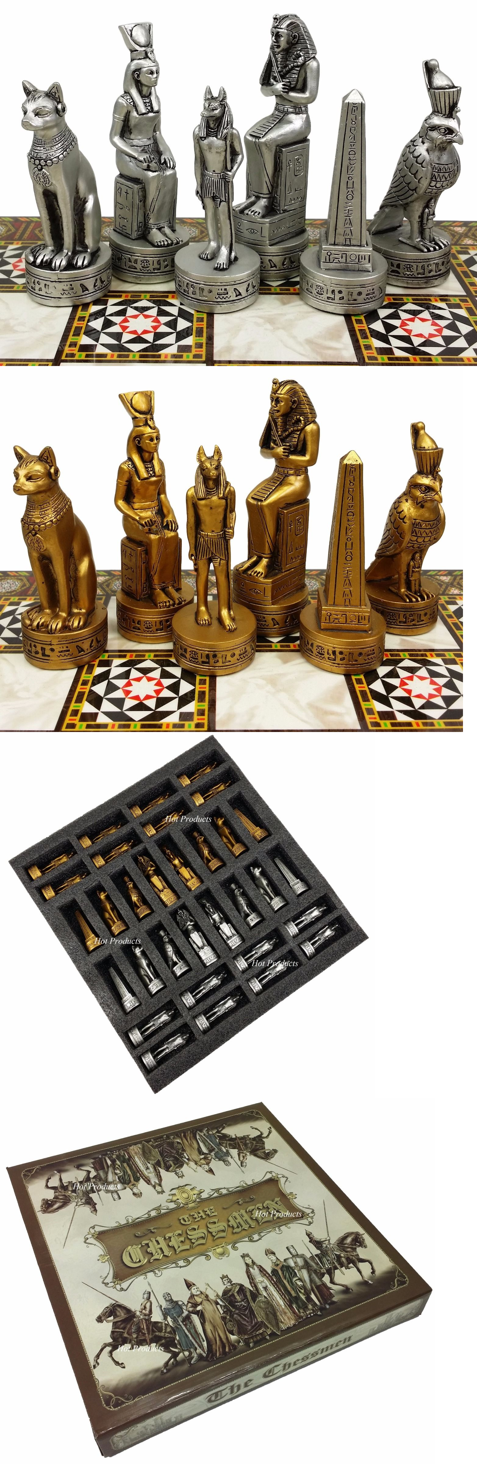 NO BOARD Egyptian Anubis Chess Men Set Gold /& Silver Antiqued