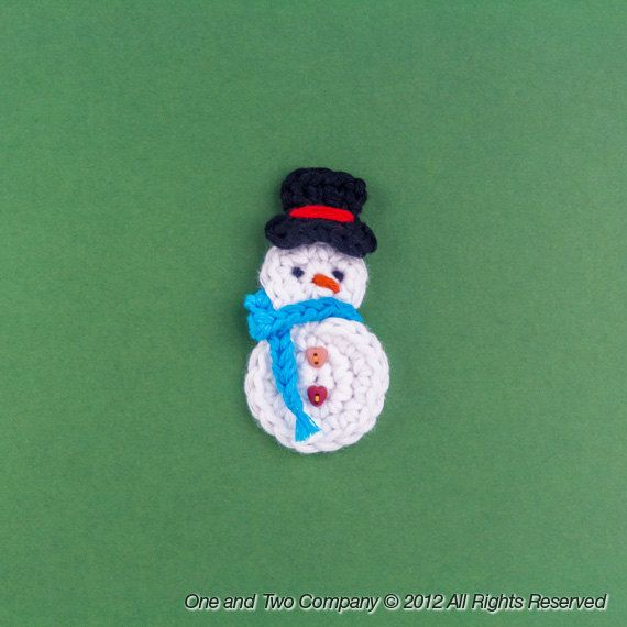 New Pdf Crochet Pattern Snowman Applique Text Instructions And