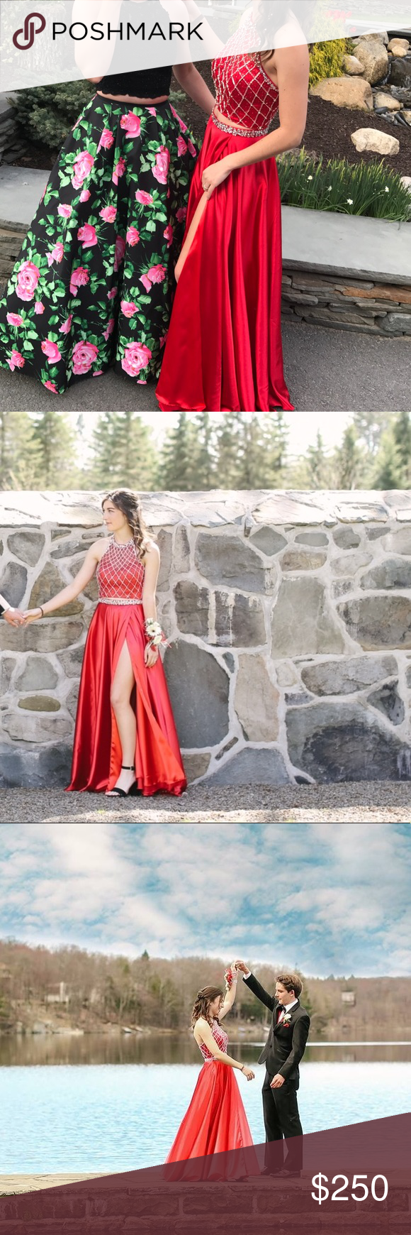 Red satin two piece prom dress red satin satin and prom