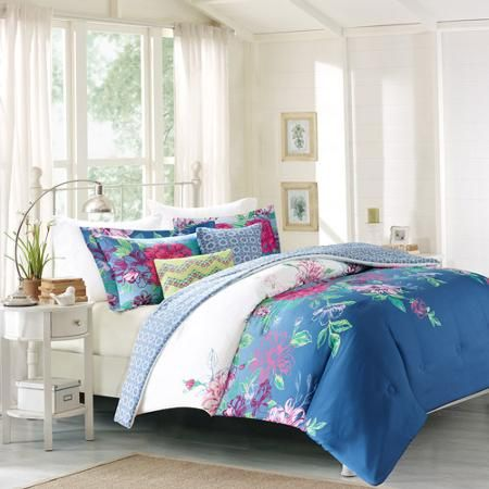 Better Homes And Gardens Teal Flowers 5 Piece Set