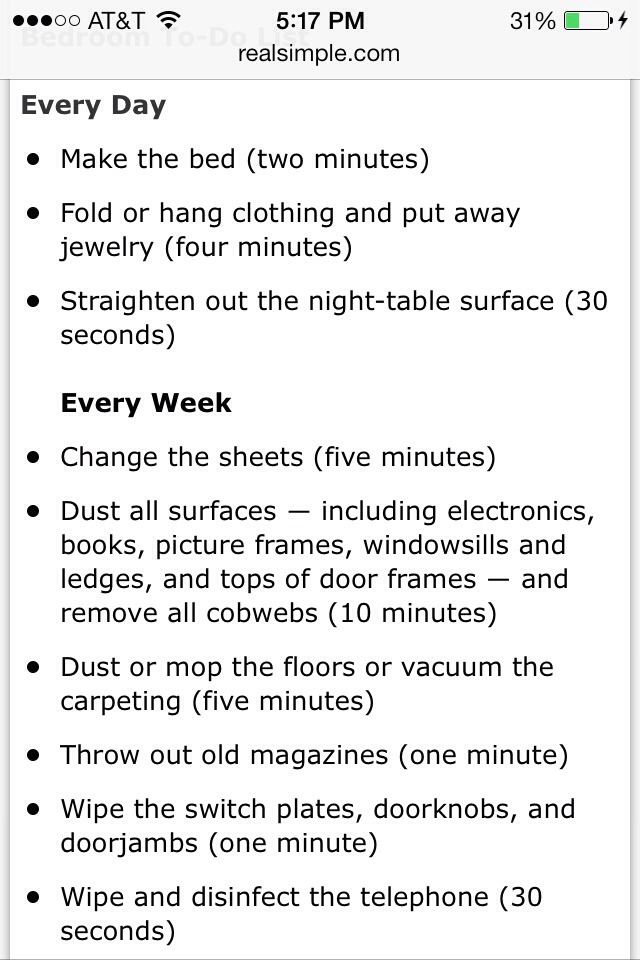 good way to keep your room clean and to have to do less cleaning
