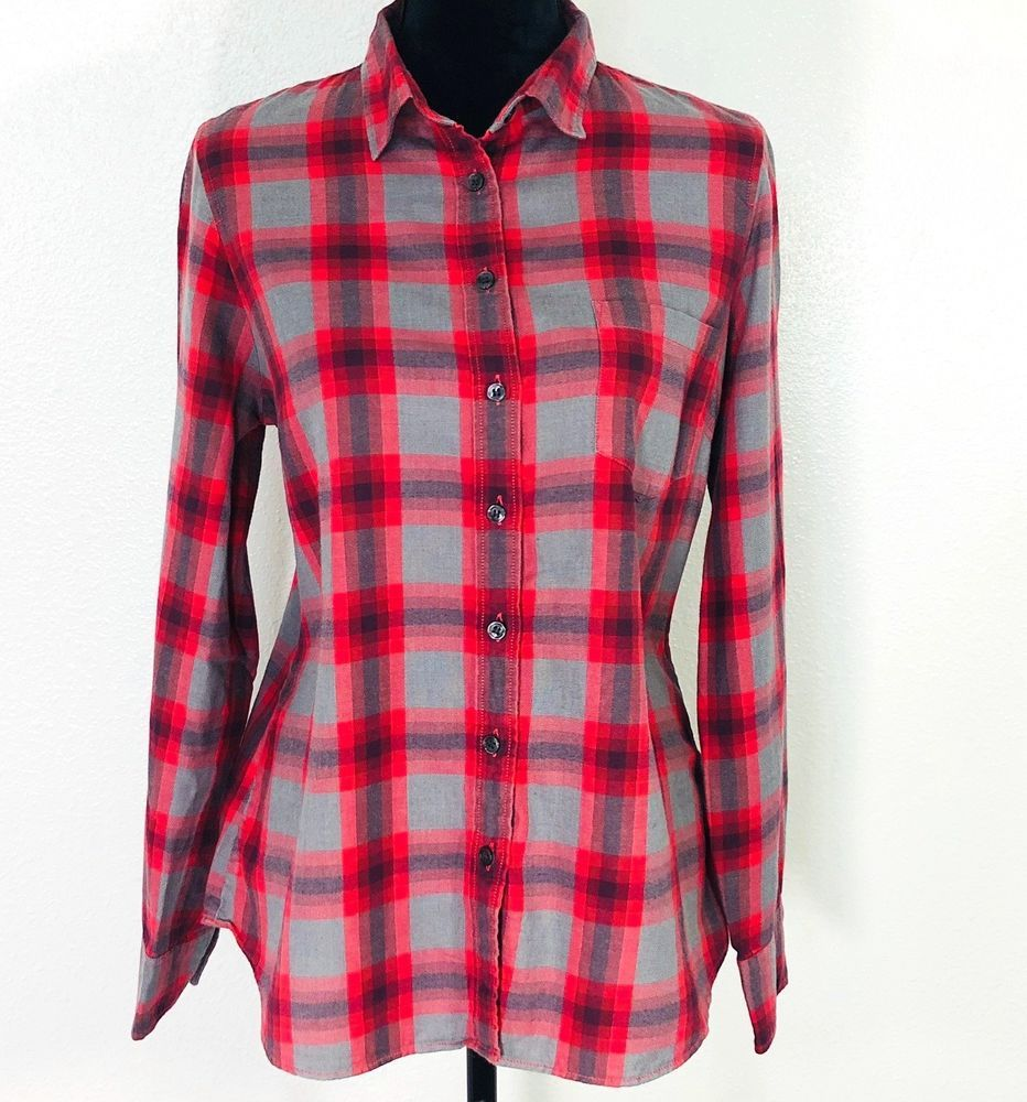 68411633679 J Crew Womens Perfect Shirt Gray Red Plaid Size Medium Long Sleeve Button  Front #JCREW #Blouse #Career