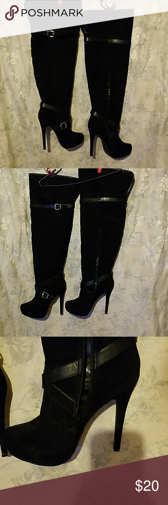 """JUST FAB OVER THE KNEE BOOTS SIZE: 10W. WIDE CALF  WORN 3 TIMES. Id rate them 8/10.  I am 5 '6 """" and these come to the very top of my knee caps.  Heel height: APPX: 6-7 inches. *NO TRADES* Just Fab Shoes Over the Knee Boots"""