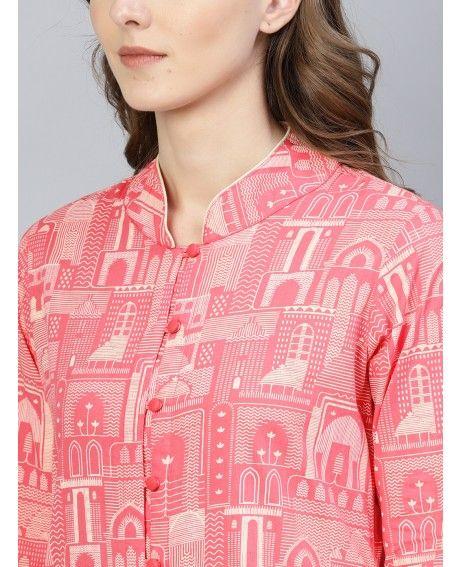 Pink Hawa Mahal Print Kurta Set With Contrast Detailing #Aksbynidhi #Aksclothings #Clothingbrand #Collection