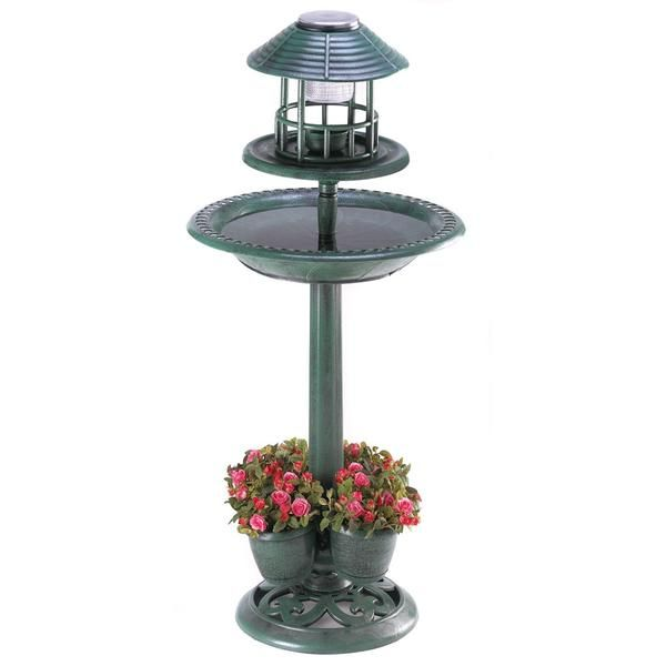 Fantastic three-in-one decoration adds liveliness to any garden! Lightweight yet sturdy enough for years of enjoyment, this faux-metal treasure brings together