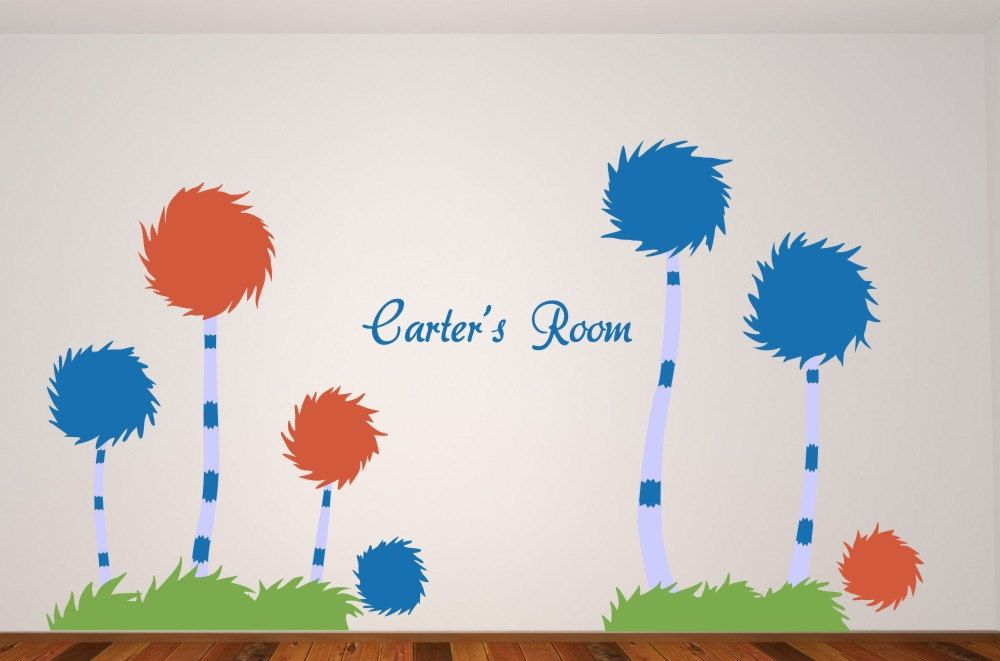 Wall Decal Name with Lorax Truffula Trees Wall by ...
