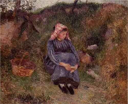 Seated Peasant Girl - Camille Pissarro