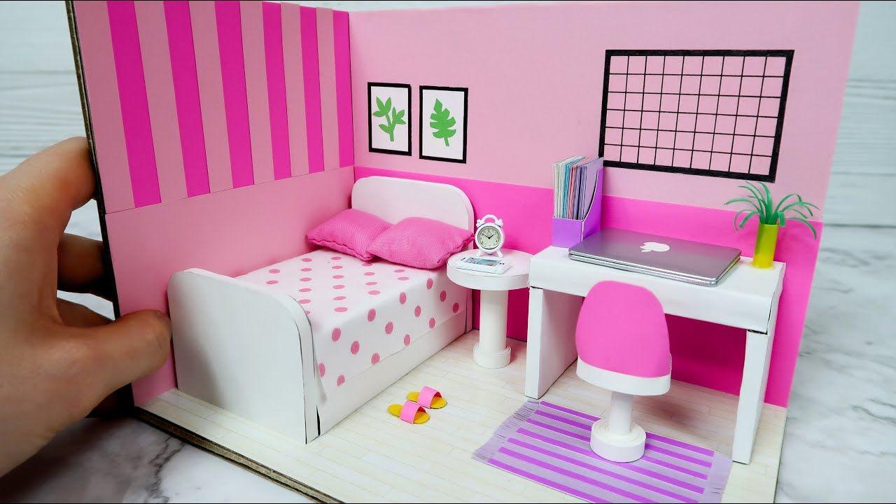 Diy Dollhouse With Cardboard Pink Bedroom Decor Youtube Diy Dollhouse Furniture Pink Bedroom Decor Cardboard House