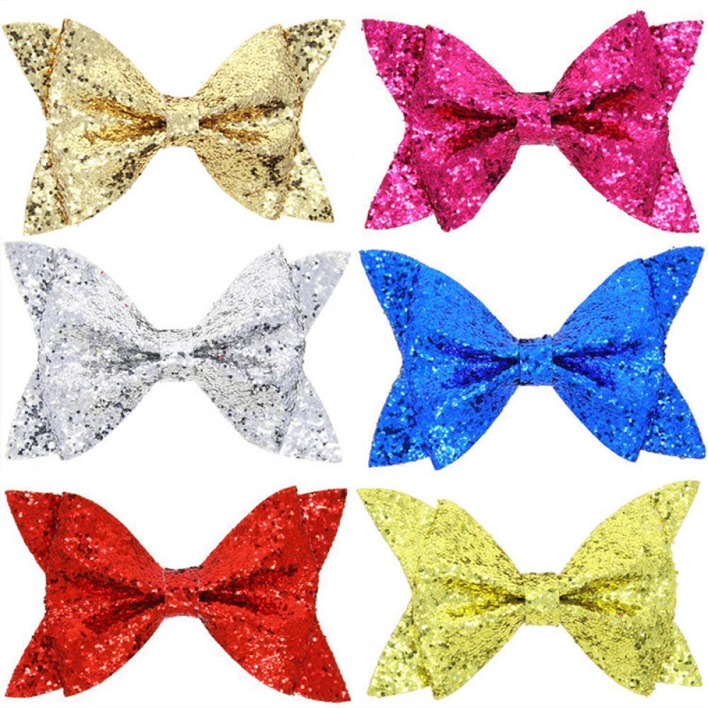 Kids Girls Baby Mermaid Shiny Sequin Big Bowknot Hair Clip Cute Hair Bow Hairpin