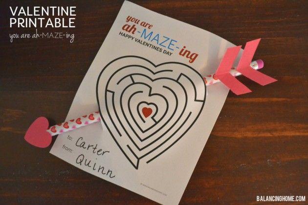 free printable valentines - mazes!