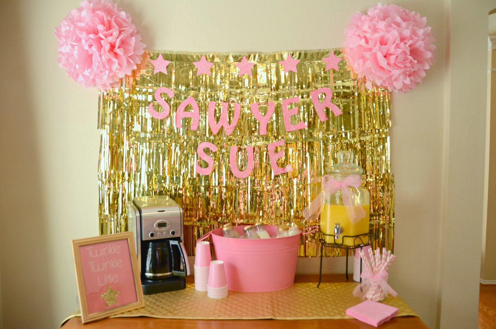 This drink station is very simple and still super cute! The tulle ...