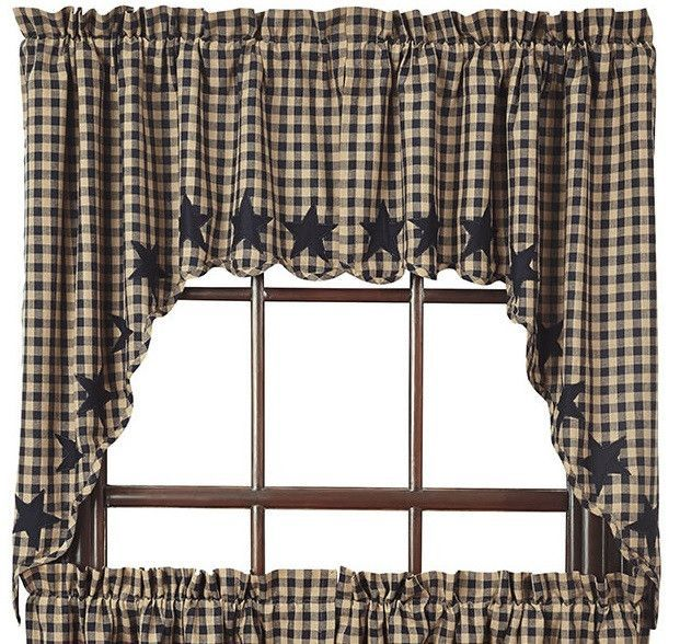 Black Star Scalloped Lined Swag Curtains