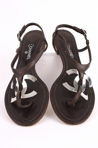 d176340df3a267 Authentic CHANEL Sandals w Huge CC Logo at Rice and Beans Vintage