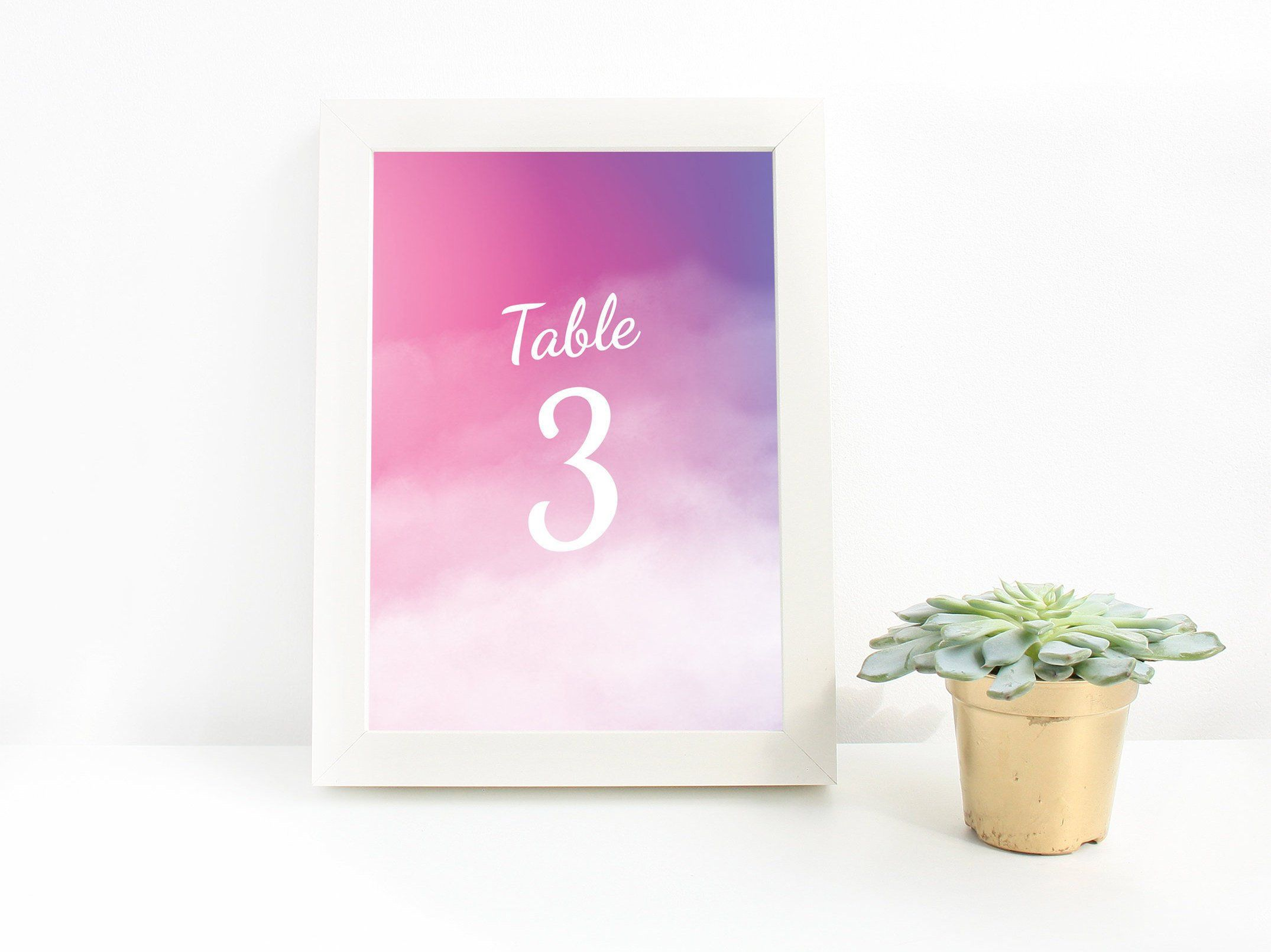 Pink Watercolor Ombre Wedding Table Numbers Wedding Signs Decor