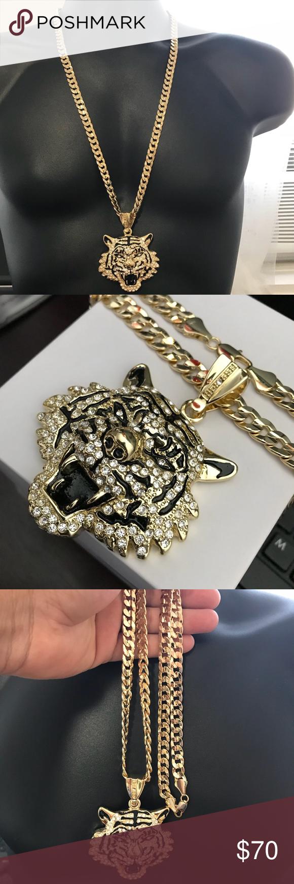 New hip hop k cuban link tiger pendant mens hip hop iced out