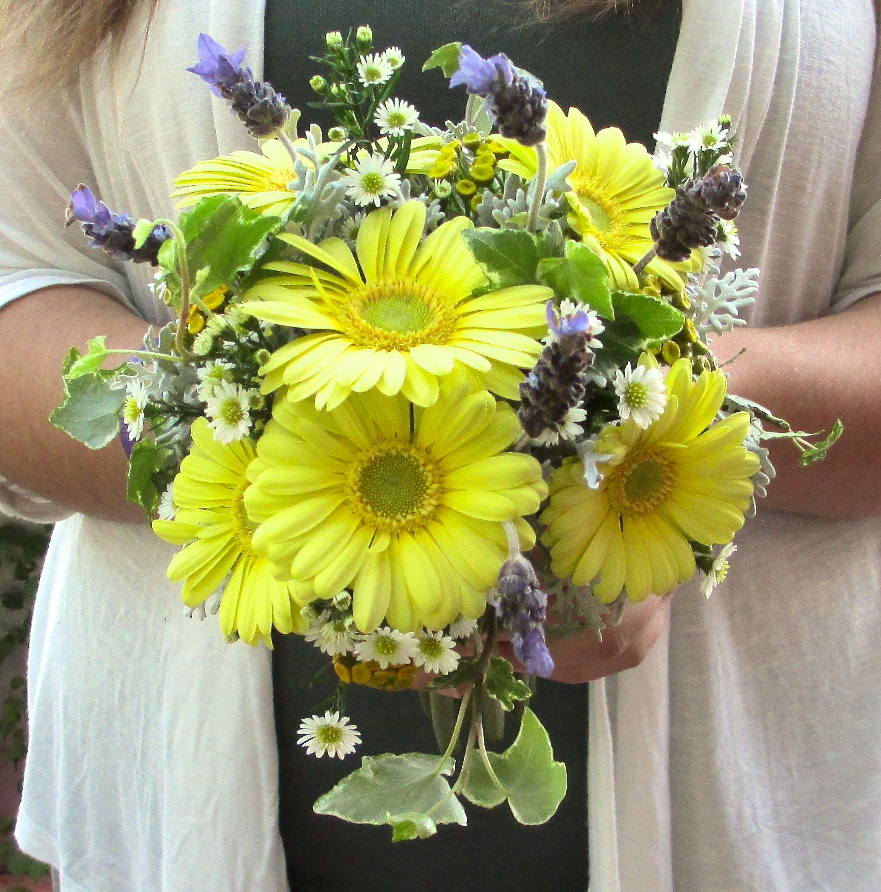 Garden Style Bouquet With Gerbera Daises Lavender Aster Dusty