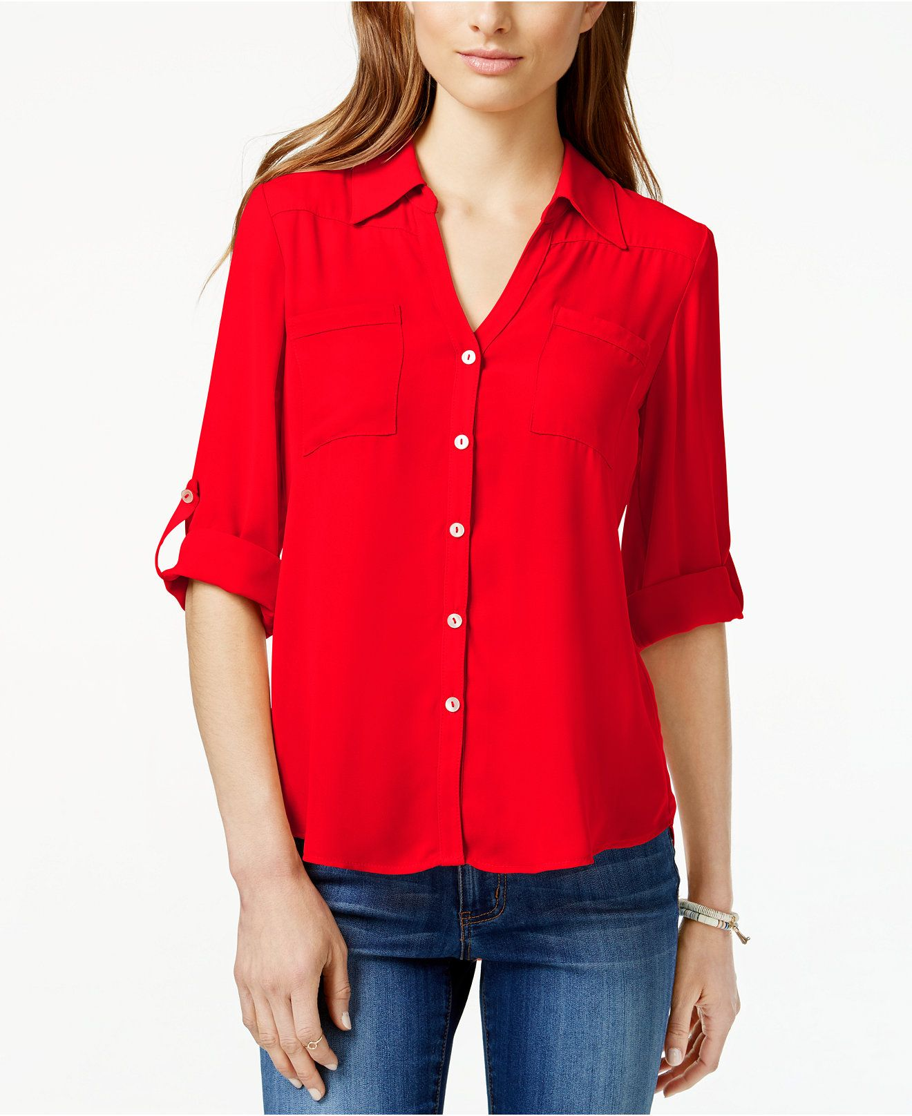 e994f11e93ce95 BCX Juniors  Roll-Tab Button-Front High-Low Blouse - Juniors Tops - Macy s