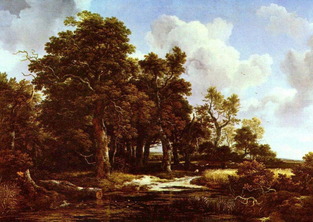 Landschaftsmalerei barock  Jacob Isaaksz. van Ruisdael. Waldlandschaft. Um 1660, Öl auf ...