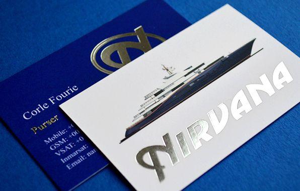 Yacht Nirvana Velvet Laminated Business Card With Metallic Silver Foil Laminated Business Cards Stamped Business Cards Luxury Business Cards