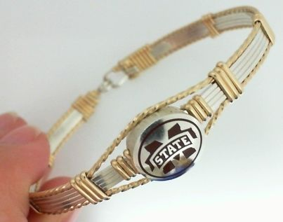 Sterling And 14kgf Artist Wire Enamel Msu Bangle Mississippi