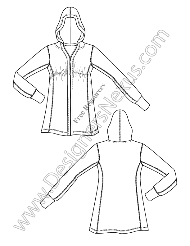 V3 Knit Hoodie Illustrator Fashion Technical Drawing - free download ...