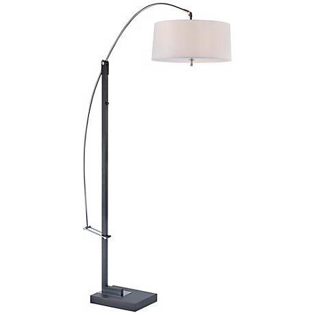 Lite Source Tall Karm Adjustable Black Arc Floor Lamp