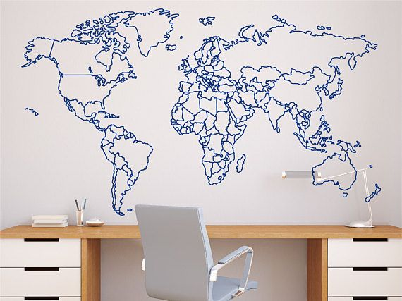 World map with countries borders outline wall decal - Mappa del mondo contorno ks2 ...