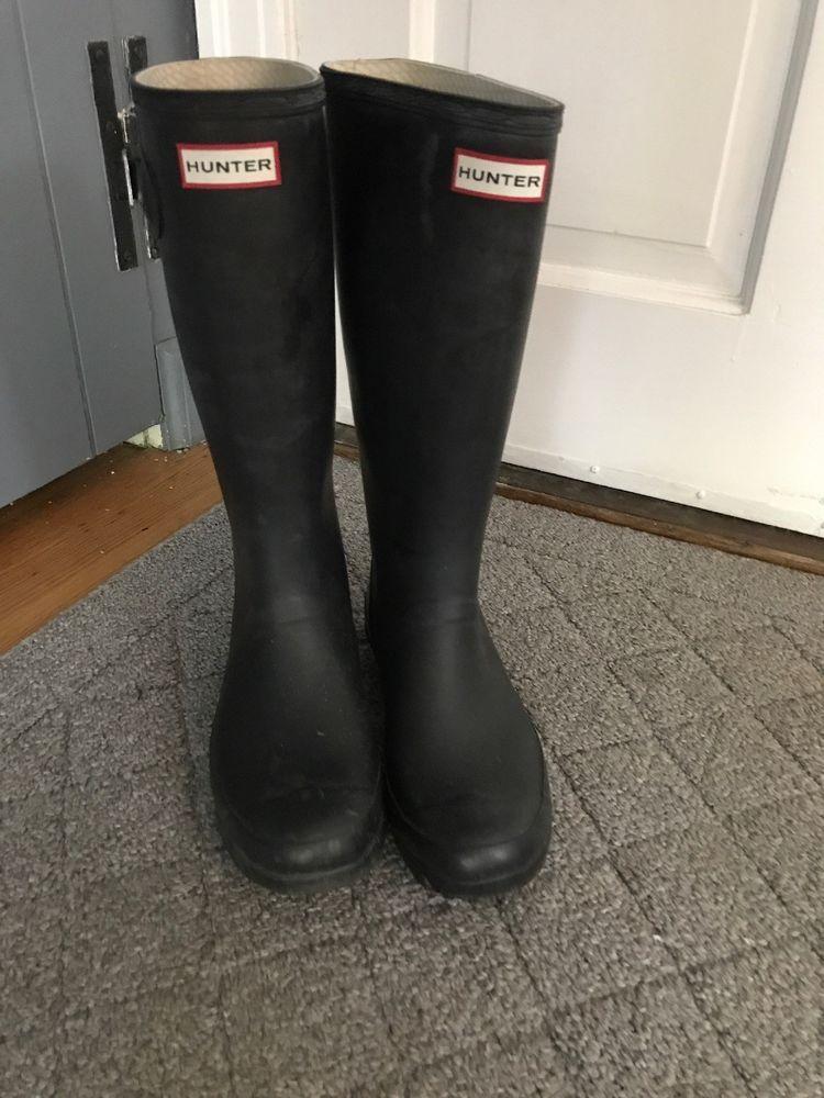 Hunter Womens Black Rubber Rain Boots Original Tall 7 Med Fashion