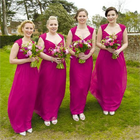 Emily & Ben's Real Wedding - Bridesmaids; Pretty in Pink #hitchedrealwedding