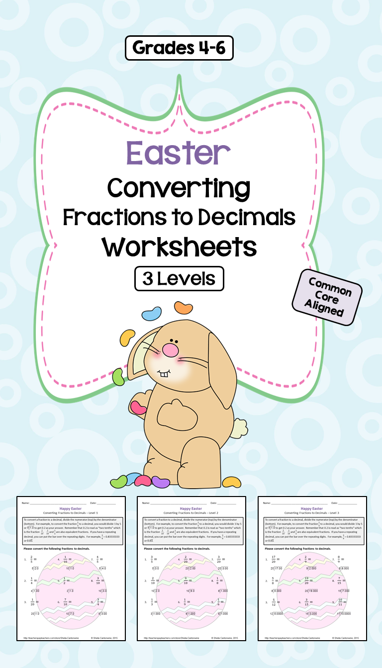 Easter Math Converting Fractions To Decimals Worksheets 3 Levels