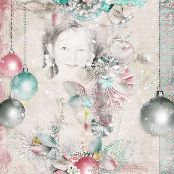 Do you believe in the Magic of Christmas ? I do believe in it.  May all the sweet magic of Christmas conspire to gladden your hearts and fill every desire. This collection is created with soft and tender colors and has a slightly vintage look. It's versatile enough to be used as a Christmas kit, or as a winter one. It's totally up to you ! Play along with elements and overlays and give unique looks to your digital scrapbooking projects ! Also using Circles of love #3 by HSA